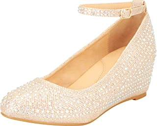 Cambridge Select Women's Ankle Strap Crystal Rhinestone Mid Wedge