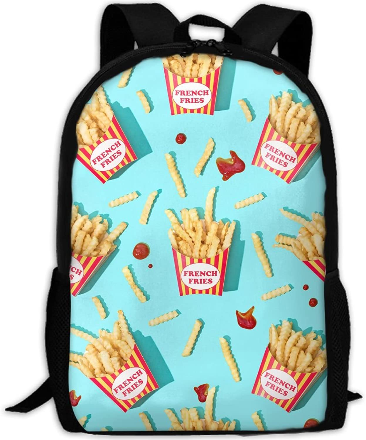 Adult Backpack Ketchup French Fries College Daypack Oxford Bag Unisex Business Travel Sports Bag with Adjustable Strap