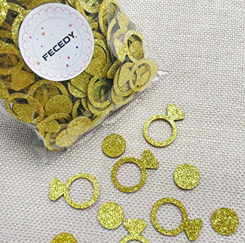 Fecedy Gold Circle ring Confetti for Bachelorette Party 400pcs/pack