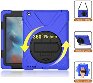 iPad 2/3/4 Case, Heavy Duty Rugged Shockproof Protective Rubber Case with Multi Viewing Angle Stand Hand Strap Shoulder Strap Kid Friendly Drop Resistant Case for Apple iPad 9.7 2nd 3rd 4th Gen Blue