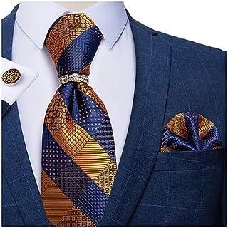 کراوات رسمی جامد و حلقه کراوات طلای DiBanGu مردانه دکمه سر دست دار مربع جیبی ابریشمی با جعبه کادو
