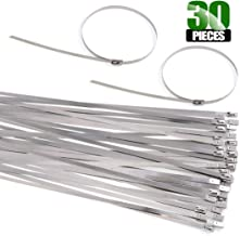 Keadic 30Pcs 14 Inches 304 Stainless Steel Zip Ties Exhaust Wrap Coated Locking, Metal Cable Zip Ties for Computer Wire Harness, Automotive Parts and more