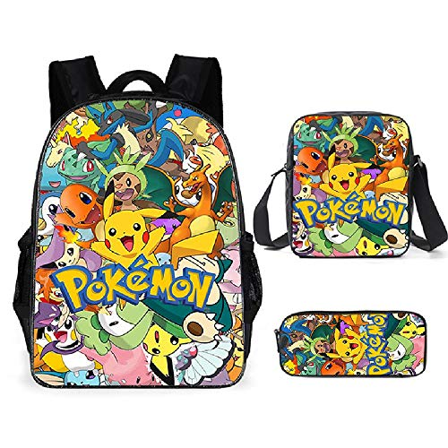ZTFay Anime Pokémon Pikachu Jungen Mädchen Schule Rucksack Umhängetasche Lunchbox Bleistift Tasche 3 Stück Set Kinder Mädchen Jungen, H.