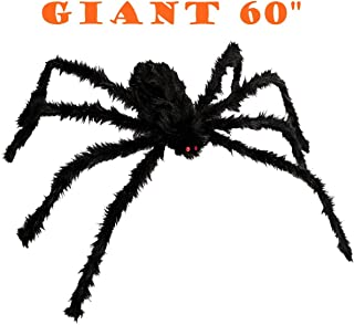 FUNISFUN 60 Inches Halloween Giant Spiders Decoration Props with Red Eyes 8 Hairy Bendable Legs Perfect for Outdoor, Indoor, Window, Roof, Tree, Cobweb, Yard, Costume Party Scary Decor