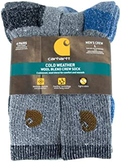 Men's A118-4 Cold Weather Wool Blend Crew Socks (Pack of 4)