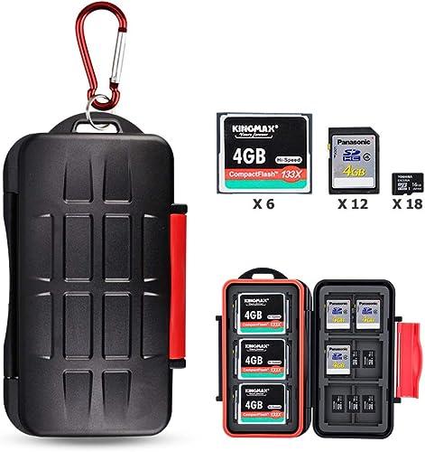 Kiorafoto 36 Slots Professional Water-Resistant Anti-Lost Storage Holder Memory Card Case Protector Wallet for 6 CF &...