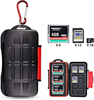 Kiorafoto 36 Slots Professional Water-Resistant Anti-Lost Storage Holder Memory Card Case Protector Wallet for 6 CF & 12 S...