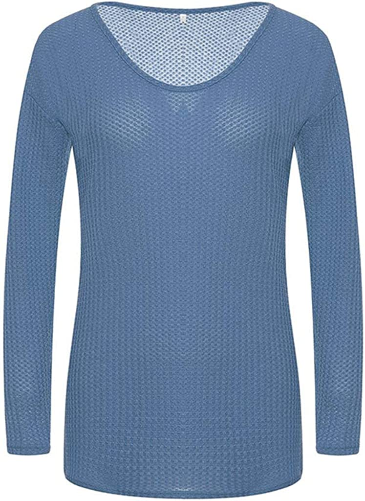 FABIURT Women's V-Neck Solid Color Matching Long-Sleeved Slim Fits Sweater Pullover Jumper Tops Sweatershirt