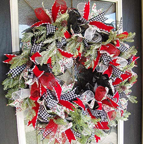 XL Christmas Winter Front Door Deco Mesh Wreath, Country, Farmhouse, Evergreen, Modern,Handmade Hand Crafted