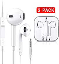 (2 Pack) Earbuds Headphones Stereo Earphones Wired in-Ear Headset with Microphone and Noise Isolating Compatible with iOS Devices 6s/plus/6/5s/se/5c/iPad/MP3/Android Model