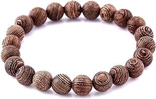 Lion & Son Wood Armband Unisex Gladiator Helm Buddha-Armreifen Perlen Holz Hamsa Skull Hantel Fitness Bracelet