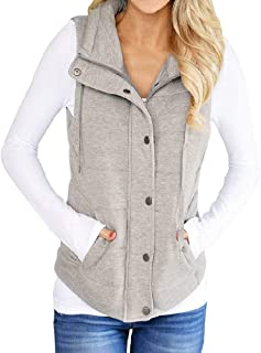 Womens Casual Quilted Puffer Vest Lightweight Zip Up Drawstring Jacket Outerwear with Pockets