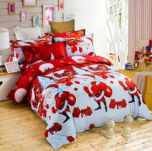 Set di biancheria da letto con 1 copripiumino, 1lenzuolo, 2federe per cuscini (4 pezzi), motivo: Babbo Natale, per letto matrimoniale taglia queen Happy Xmas