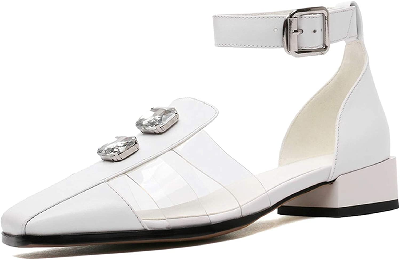 Women Black Square Toe Sandals Summer Genuine Leather Fashion Med Wide Heels Women shoes