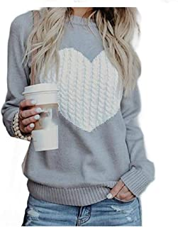 Doufine Women Baggy Heart Plus-size Pullover Fall Winter Crew Neck T-Shirt Grey XS