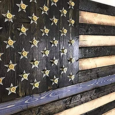 Popular Mixed Media Wall Art Wooden Rustic Style Thin Blue Line American Flag