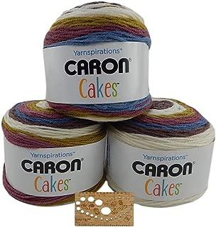 Caron Cake Bundle Acrylic Wool Blend Self-Striping Medium Gauge #4 Worsted w/Bamboo Knitting Gauge (Turkish Delight)