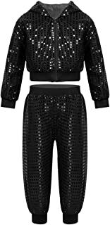 inhzoy Kids Boy's Girl's Sequins Long Sleeve Hooded Tops with Pants Set for Hip-hop Jazz Performance Costume Street Dance
