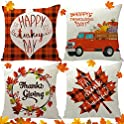 4-Pack Vichona Thanksgiving Fall Decorations Pillow Covers + Maple Leaves