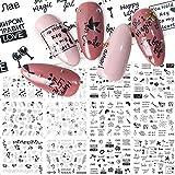 BLOUR 6 Patrones Letra Rusa Sexy Girl Nail Art Sticker Set Negro Imagen Abstracta Henna DIY Transfer Slider para manicura decoración calcomanía