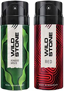 Wild Stone Mens Deodorant Red And Forest Spice Combo Pack 2 (150 ML)
