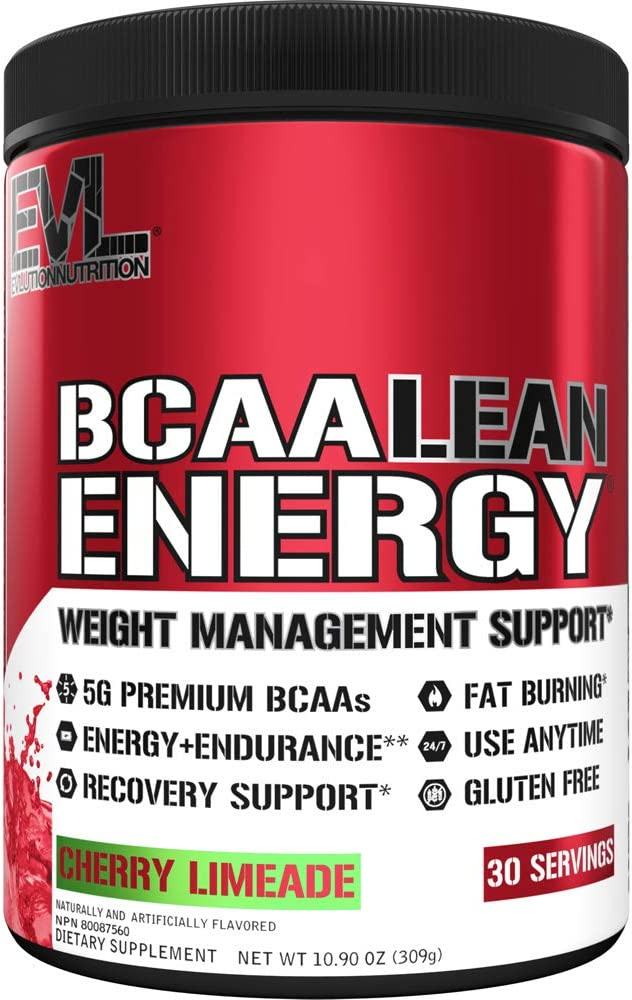 Evlution Nutrition BCAA Lean Energy - Essential BCAA Amino Acids + Vitamin C, Fat Burning & Natural Energy, Performance, Immune Support, Lean Muscle, Recovery, Pre Workout, 30 Serve, Cherry Limeade