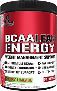 Evlution Nutrition BCAA Lean Energy - Essential BCAA Amino Acids + Vitamin C, Fat Burning & Natural Energy, Performance, I...
