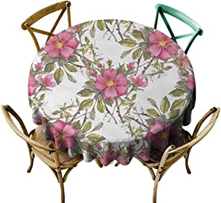 Rectangle tablecloths Flower,Watercolor Dog Rose Garden Pattern with Leaves and Buds Image,Light Pink White and Lime Green,for Umbrella Table