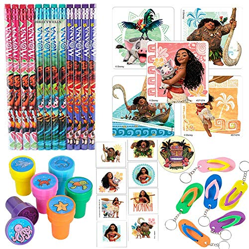 Another Dream Disney Moana Party Favor Pack Supplies Themed Pack Includes Pencils, Stickers, Stampers, Tattoos, and Keychains!