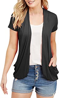Womens Cardigans Short Sleeve Summer Lightweight Sheer Open Front Drape Sweater Tops