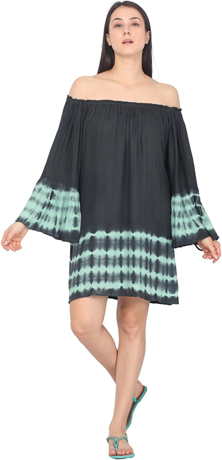 2LUV Women's Off Shoulder Flare Sleeve Tie Dye Cover Up Tunic Dress
