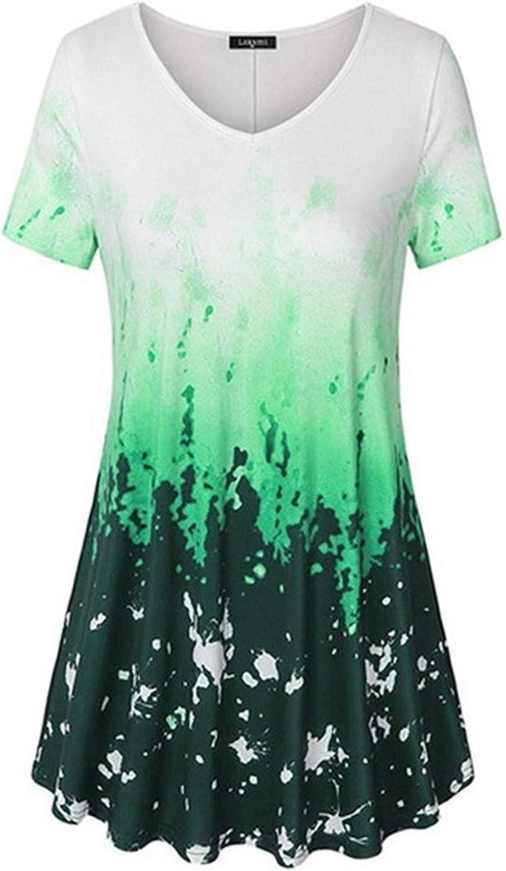 Women's Casual O-Neck Short Sleeves Colour T-Shirt Max 77% OFF Gradient Sacramento Mall Blou
