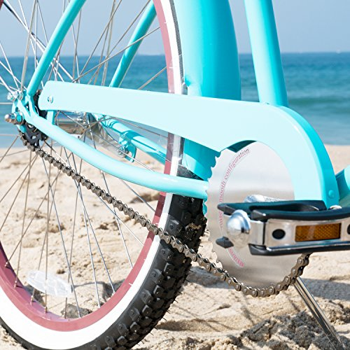 sixthreezero Women's 1-Speed 26-Inch Beach Cruiser Bicycle, Teal Blue w/ Brown Seat/Grips