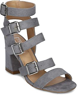 TRUFFLE COLLECTION Women's HAH1 Grey Suede Fashion Sandals