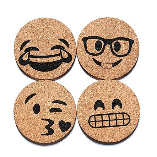 Corkologist Emoji Kork-Untersetzer, bedruckt, 4er-Set (Stil 1) Set2