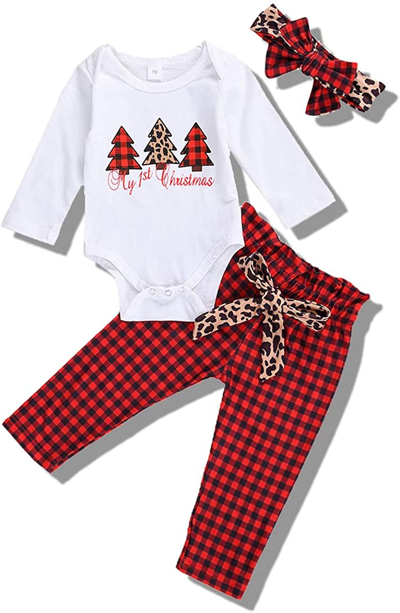Baby Girls Knitted Clothes Set Ruffle Long Sleeve Romper+Floral Pants+Headband