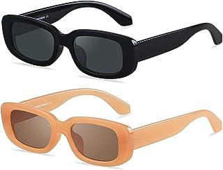 Rectangle Sunglasses for Women Square Frames Trendy Retro Vintage 90s UV 400 Protection Sun...
