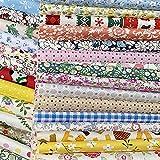Liuliu 花柄プリント 生地 可愛い はぎれセット DIY 手芸用 布 素材 パッチワーク 給食袋 ポーチなどの作りに (25枚 20cm x 20cm)