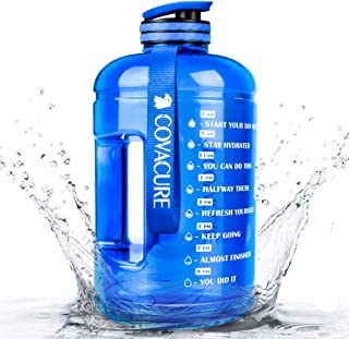 Covacure 1 Gallon/73oz Water Bottle with Time Marker - Reusable 360°Leak-Proof,  BPA Free Drinking Water Jug for Gym Fitness,  Camping,  Hiking