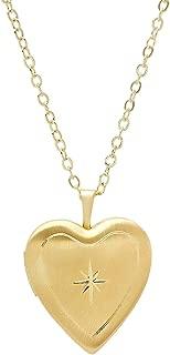 925 Sterling Silver Diamond Cut Star Heart Locket Necklace in Diamond Cut 18