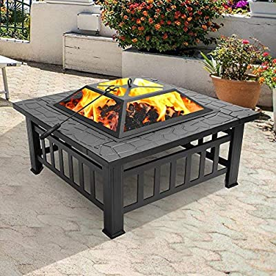 Fire Pit with Grill Grate, Fire Bowl with Spark Protection, Fire Pit for BBQ, Heater, Garden Patio Metal Fire Basket 3 in 1 Outdoor Fire Pit (Square Fireplace) by Merax