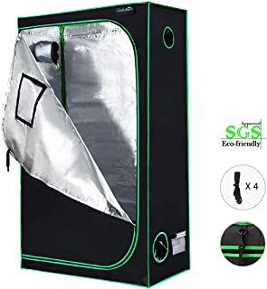 "Quictent SGS Approved Eco-Friendly 48""x24""x84"" Reflective Mylar Hydroponic Grow Tent with Heavy Duty Anti-Burst Zipper and Waterproof Floor Tray for Indoor Plant Growing 4'x2'"