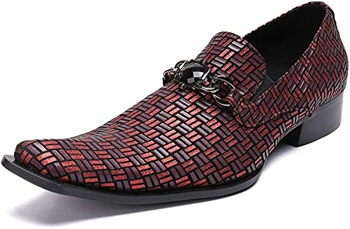 Rui Landed Oxford para Hombre schuhe Formales Slip On Style Cuero Genuino Exquisito Diamante de Moda en Relieve Discoteca (Farbe   rot, tamaño   37 EU)
