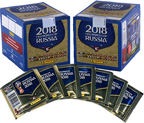 2018 Panini World Cup Soccer Stickers Bundle with (2) Factory Sealed 50 Pack Boxes - Unsigned Soccer Cards