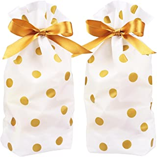 Zealax Treat Bags Gold Polka Dot Print Drawstring Plastic Candy Bags for Cookie Roasting Treat Buffet Gift Wrapping Goodies Package, 5.9 inch x 9.2 inch, 15Pcs