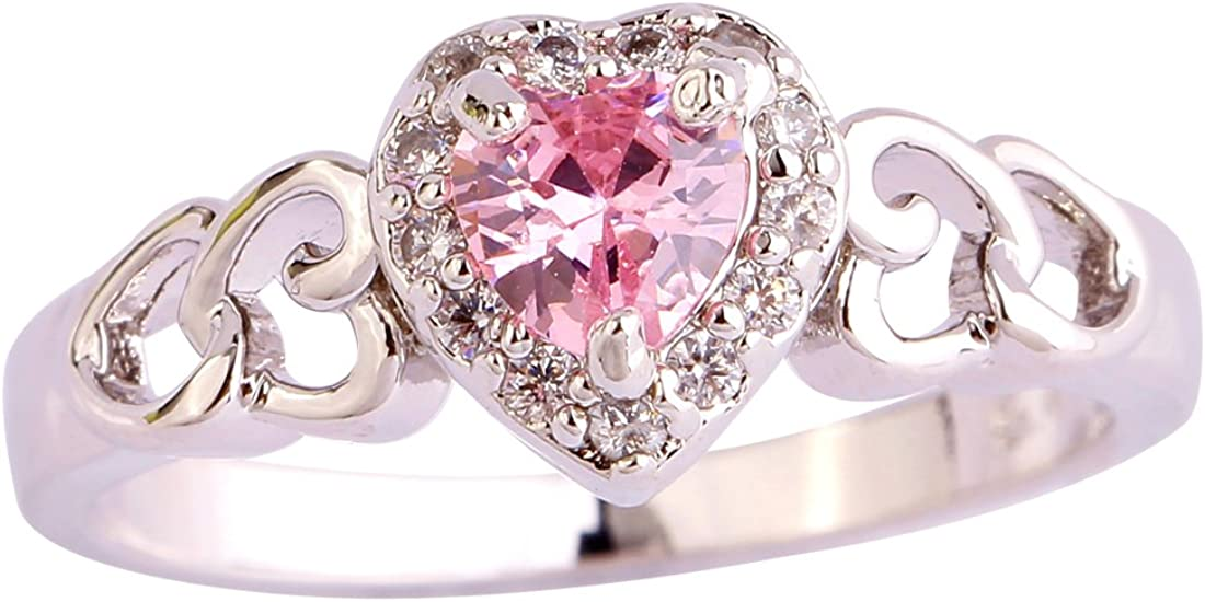 Psiroy 925 Sterling Silver Heart Shaped Created Pink Topaz Filled Halo Engagement Ring