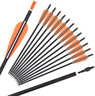 "Carbon Crossbow Bolts 16 18 20 Inch Hunting Archery Arrows with 4"" Vanes Replaced Arrowhead Tip (Pack of 12)"
