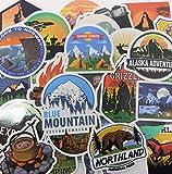 ND_Set di 50 adesivi da campeggio paesaggio montagna all'aria aperta avventura in vinile p...