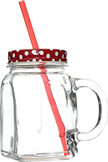 Pasabahce Jar Mug With Straw And Handle, Red White