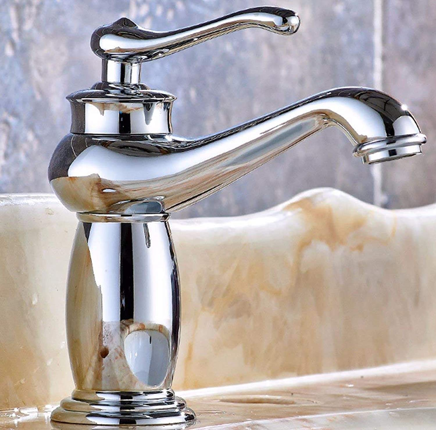 Oudan Copper Retro gold sink porcelain hot and cold Swivel Chrome Plated faucet